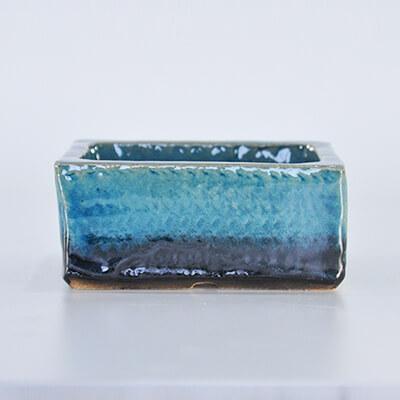 ブルーガラス 長方形【4号】【山野草鉢】